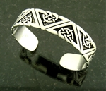 Pewter Celtic Geometric Design Cuff Bracelet (#JPEW5226)