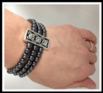 Pewter Hematite & Celtic Knot Stretch Bracelet (#JPEW5645)