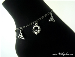 Celtic Claddagh and Trinity Anklet with Magnetic Clasp (#JPEW5856)