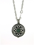 "Pewter Celtic Knot & Jade Diffuser Pendant 24"" Chain (#PEW8010)"