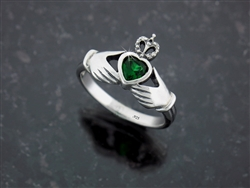 Sterling Silver Claddagh Ring w/ CZ (#Q3017)