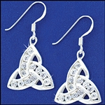 316 L Stainless Steel Trinity CZ  Earrings (#S22)