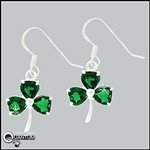 "Sterling Silver ""Wearing O' The Green"" CZ Shamrock Earrings (#BQ395)"