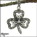 "Sterling Silver ""Enchanted Ireland"" Shamrock & Trinity Pendant (#BQ422)"
