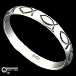 Sterling Silver Ichthus Fish Band Ring (#BQ558)