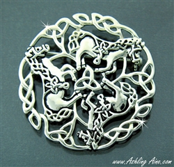 Perfect ... Pewter Celtic Horse Brooch (#JPEW5460) ...