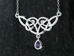 "Pewter Celtic Knot Necklace w/ Purple CZ  on 18"" Chain (#JPEW5502)"