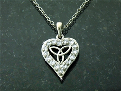 "Pewter CZ Trinity Knot Heart Necklace on 18"" Chain (#JPEW5778)"