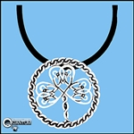 "Pewter ""Sweet Braids"" Shamrock Pendant on 18"" Black Cord (#JPEW5876)"