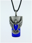 "Pewter Dove & Heart Aromatherapy Keepsake Vial 36"" Cord(JPEW6029)"