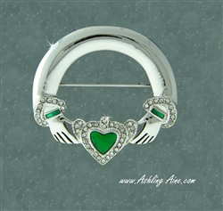 Pewter CZ and Green Enamel Claddagh Pin (#JPEW6030)