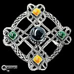 Pewter Celtic Multi-Stone Brooch (#PEW40)