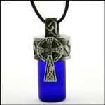 "Pewter  Celtic Cross Aromatherapy Keepsake Vial 36"" Cord(#PEW728)"