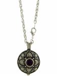 "Pewter Amethyst Flower Diffuser Pendant on 24"" Chain (#PEW8013)"
