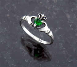 Sterling Silver Claddagh Ring Heart CZ (#Q3043)
