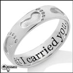 Stainless Steel Footprints Ring (#S36)