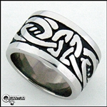 316L Stainless Steel Celtic Knot Wide Band Ring (#S8)