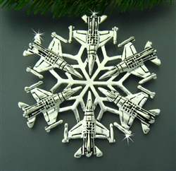 Pewter USAF F-16 SnowWonders® Snowflake Ornament/Pendant (#SW5428)